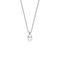 Mikimoto 18K White Gold 8.5mm Akoya Pearl and Diamond Pavé Pendant