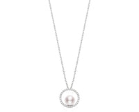 Mikimoto 18K White Gold Akoya 7mm Pearl and Diamond Pendant