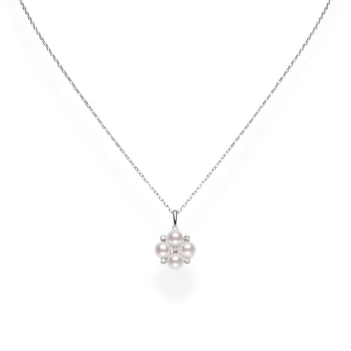 Mikimoto A+ Akoya Cultured Pearl and Diamond Cluster Pendant