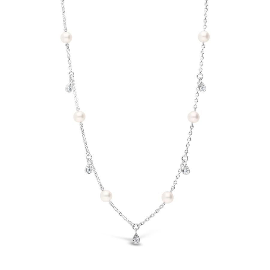 Mikimoto 18K White Gold 4.5mm Akoya Pearl and Diamond Station Necklace