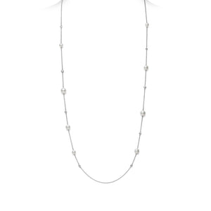 Mikimoto 18K White Gold 5.5-7.5mm Akoya Pearl and Diamond Station Necklace