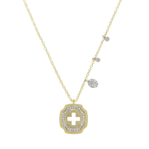 Meira T 14K Yellow and White Gold Cutout Cross Necklace with Bezel Set and Pavé Charms