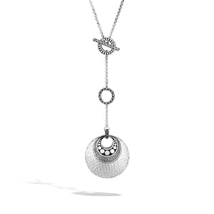 John Hardy Dot Sterling Silver Link Lariat Necklace with Palu Hand Hammering