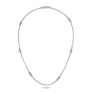 John Hardy Classic Chain Sterling Silver Knife Edge Station Necklace