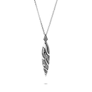 John Hardy Lahar Sterling Silver Marquis Pendant with Grey and White Diamonds
