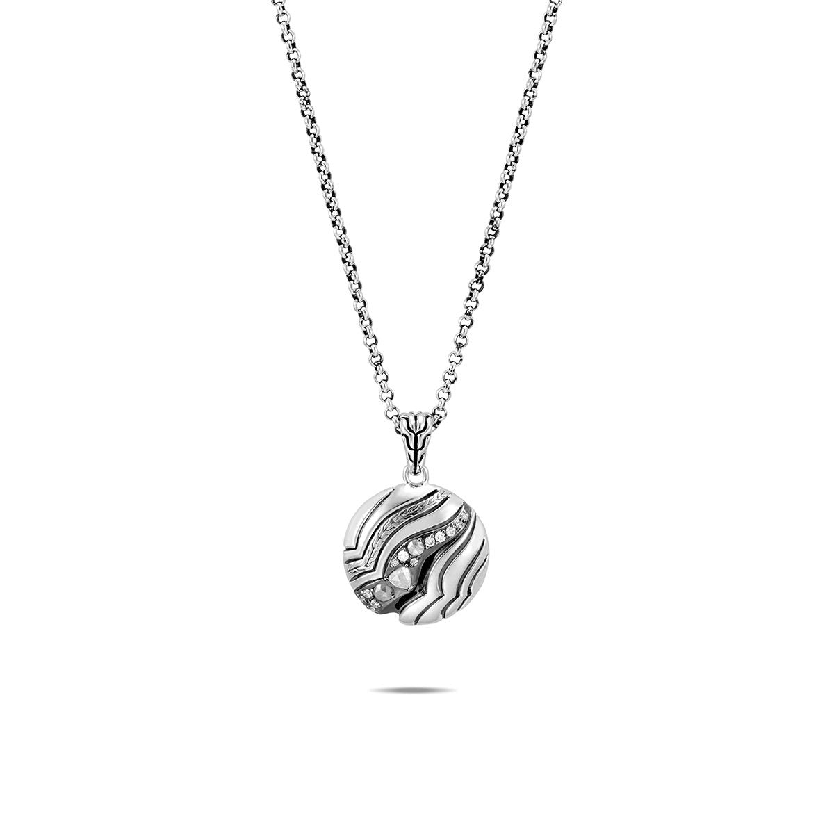 John Hardy Lahar Sterling Silver Pendant with Grey and White Diamonds