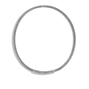 John Hardy Classic Chain Station Necklace with White and Grey Diamond Pavé
