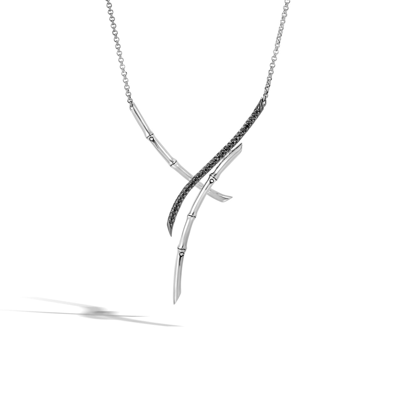 John Hardy Bamboo Sterling Silver Crossover Necklace with Black Sapphire