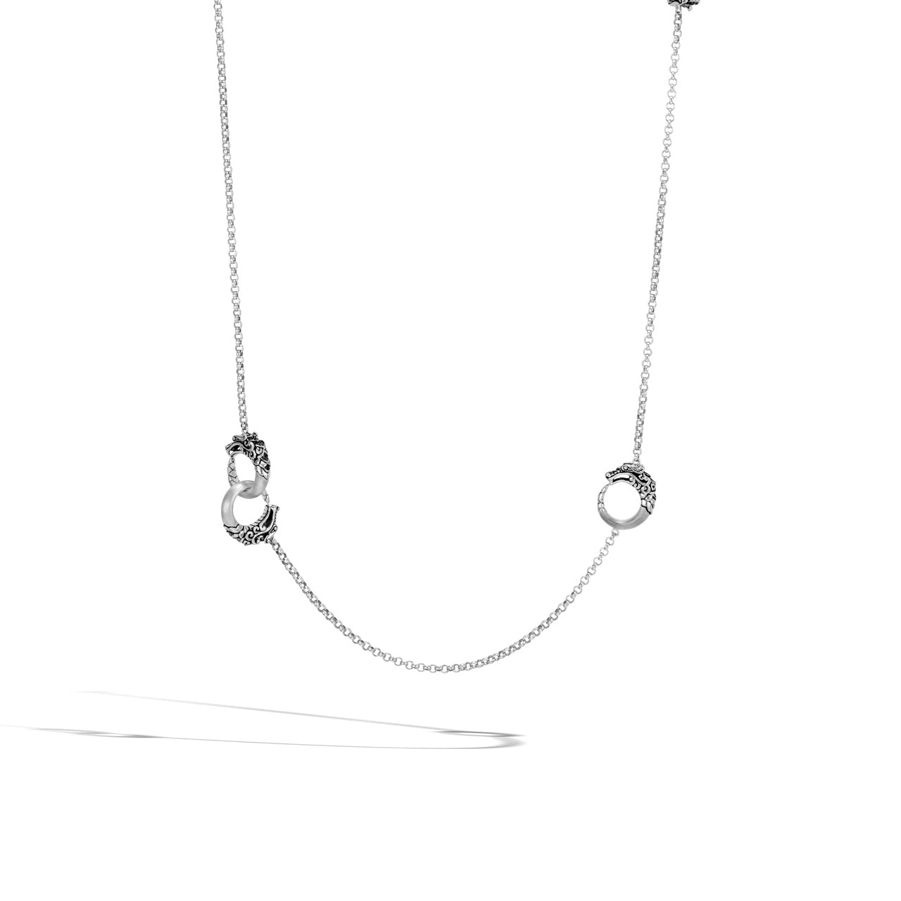 John Hardy Legends Naga Sterling Silver Station Necklace with Black Spinel