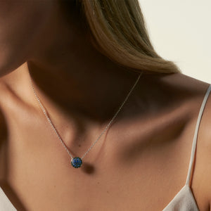 John Hardy Classic Chain Sterling Silver and Sapphire Pendant on Model