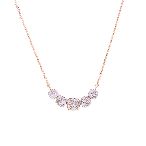 Sabel Collection 14K Rose Gold Curved Diamond Necklace