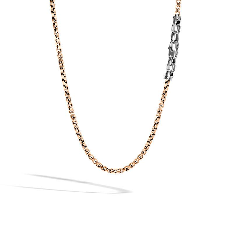 John Hardy Men's Classic Chain Sterling Silver and Bronze Box Chain Necklace