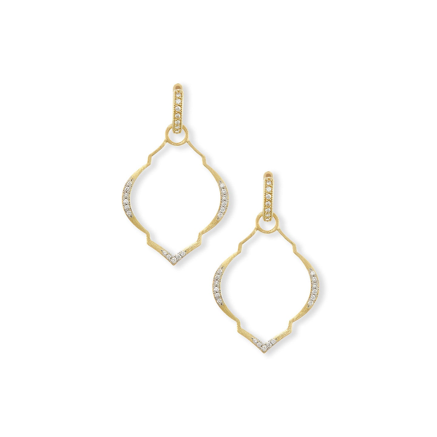 Jude Frances Casablanca 18K Yellow Gold Moroccan Earring Charm Frames with White Diamonds