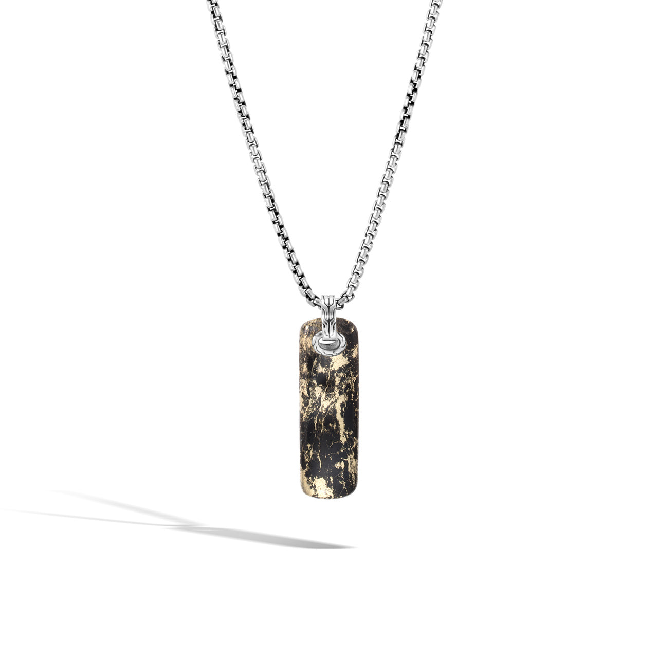John Hardy Men's Classic Chain Sterling Silver and Apache Gold Dog Tag