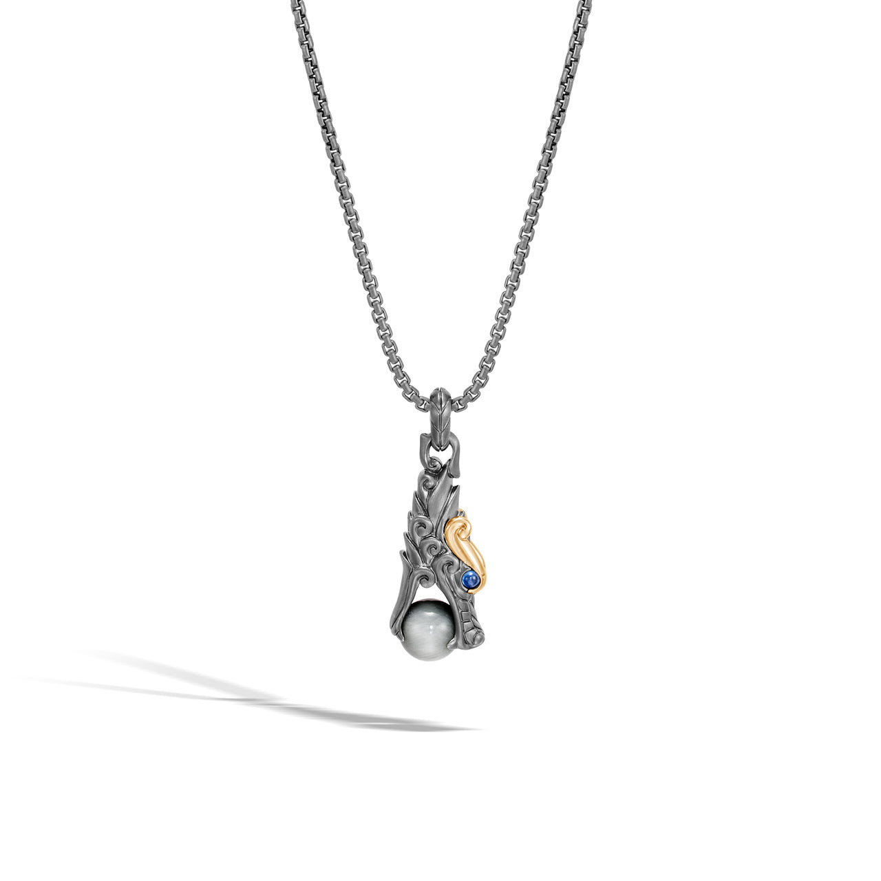 John Hardy Men's Legends Naga Black Rhodium Plated Sterling Silver Pendant with Eagle Eye Bead