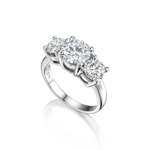 Fink's Exclusive Platinum Round Diamond Three Stone Engagement Ring