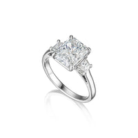Fink's Exclusive Platinum Radiant Cut Diamond Engagement Ring with Trapezoid Side Diamonds