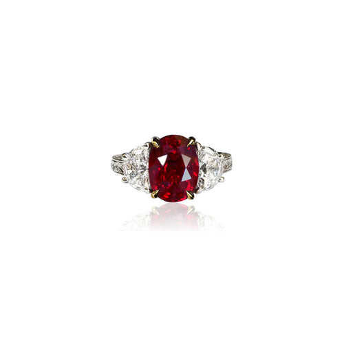 Sabel Collection Platinum and 18K Yellow Gold Burma Ruby and Diamond Ring
