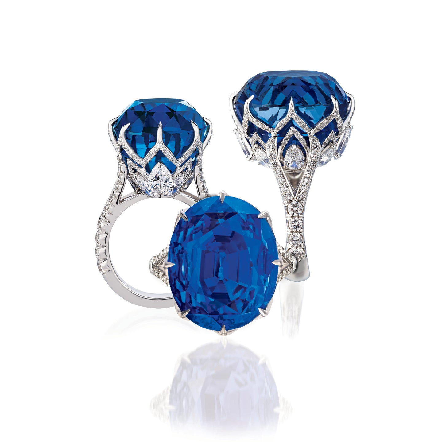 Sabel Collection Platinum Oval Ceylon Sapphire and White Diamond Ring