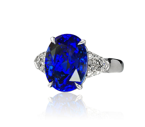 Sabel Collection Platinum Oval Ceylon Sapphire and Shield Diamond Ring