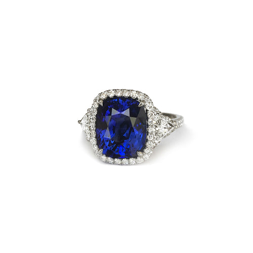 Sabel Collection Platinum Cushion Ceylon Sapphire and Diamond Halo Ring