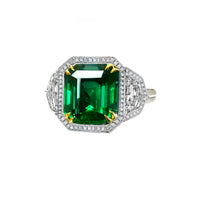 Sabel Collection Platinum and 18K Yellow Gold Emerald Cut Emerald and Diamond Ring