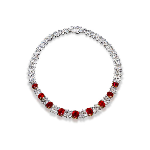 Sabel Collection Platinum Thai Ruby and Diamond Collar Necklace