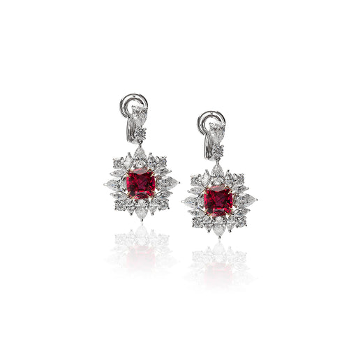Sabel Collection Platinum Cushion Thai Ruby and Diamond Dangle Earrings