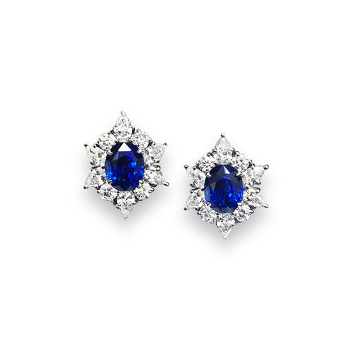Sabel Collection Platinum Oval Sapphire and Diamond Stud Earrings