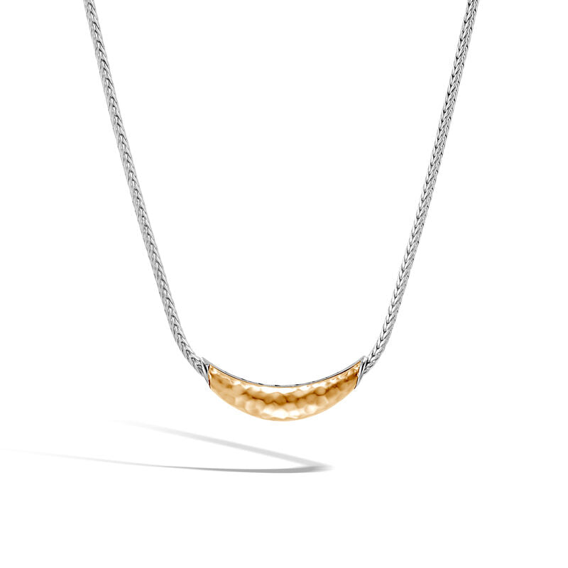 John Hardy Classic Chain Sterling Silver and Yellow Gold Hammered Station Necklace