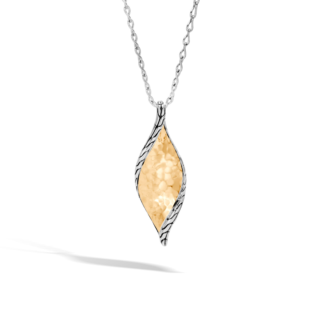 John Hardy Classic Chain Sterling Silver and Yellow Gold Wave Hammered Pendant