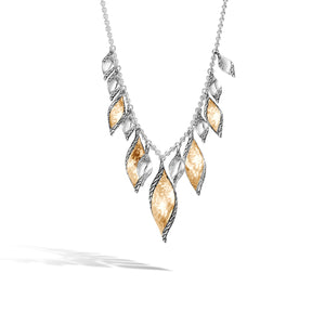 John Hardy Classic Chain Sterling Silver and Yellow Gold Wave Drop Necklace