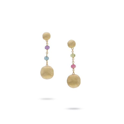 Marco Bicego Africa 18K Yellow Gold and Mixed Gemstone Drop Earrings