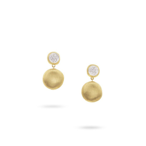Marco Bicego Jaipur 18K Yellow Gold 2 Station Diamond Drop Earrings