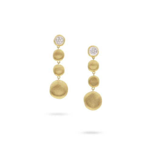 Marco Bicego Jaipur 18K Yellow Gold 4 Station Diamond Drop Earrings