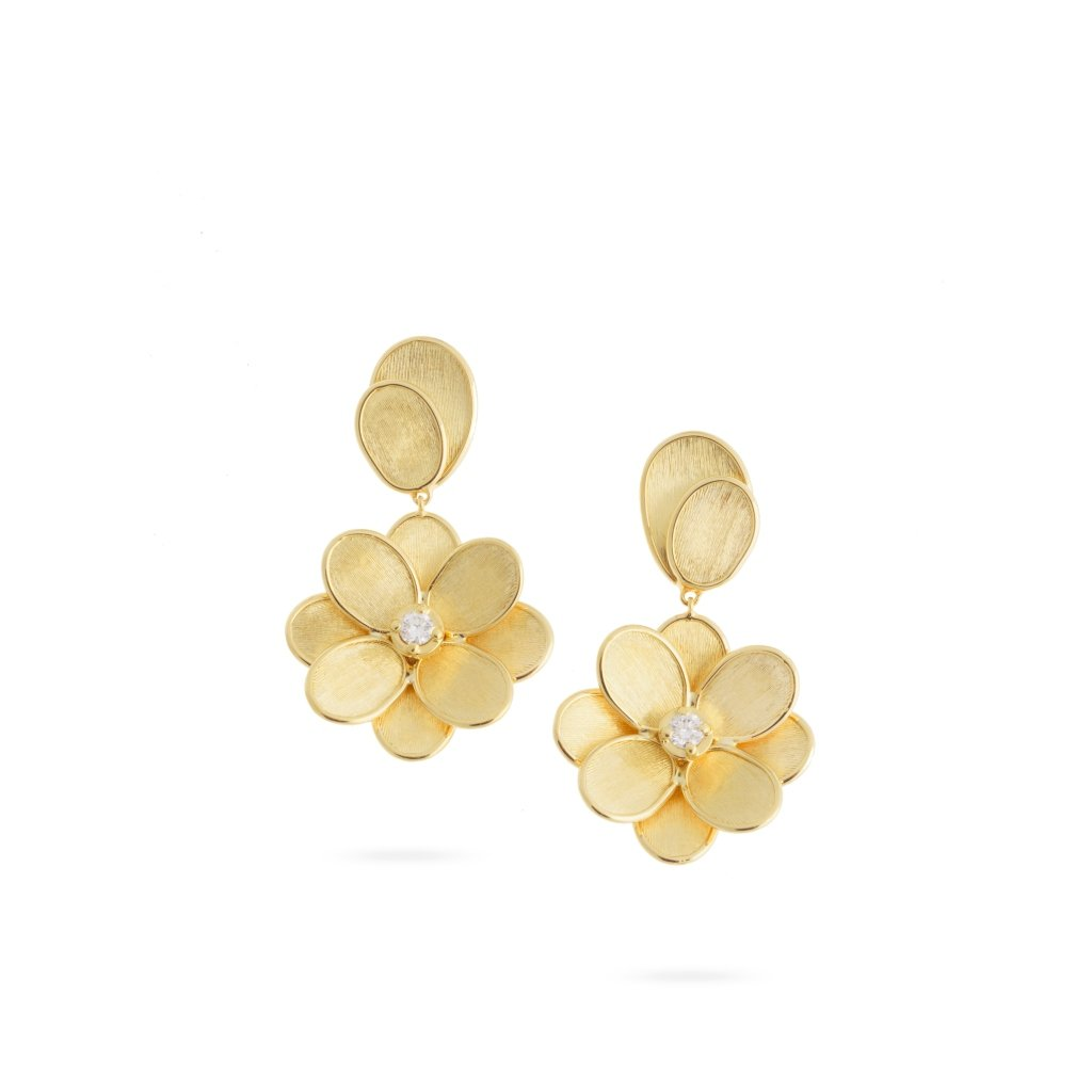 Marco Bicego Petali 18K Yellow Gold Hand-Engraved Flower Dangle Earrings with Diamond Accents