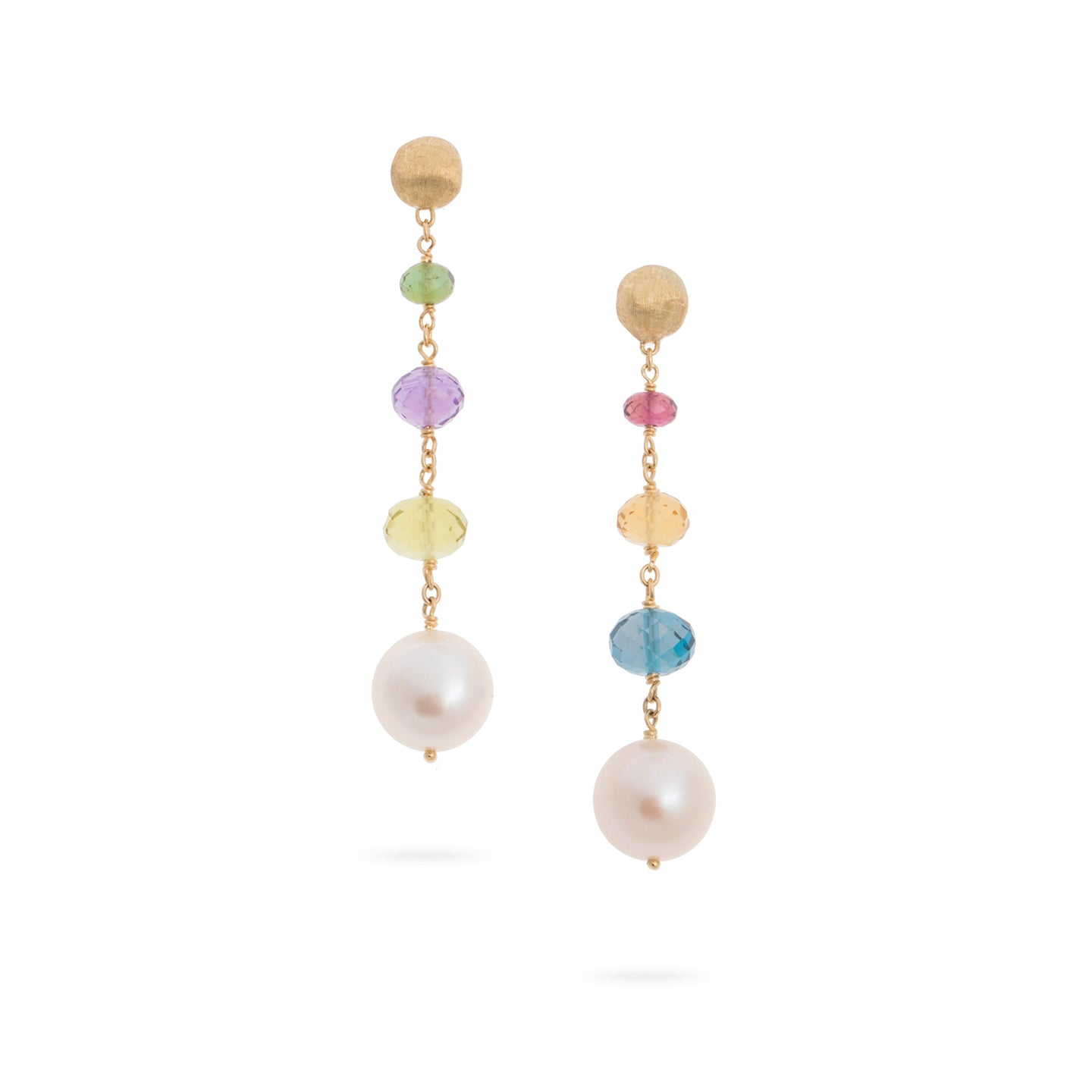Marco Bicego Africa 18K Yellow Gold Pearl and Mixed Gemstone Drop Earrings