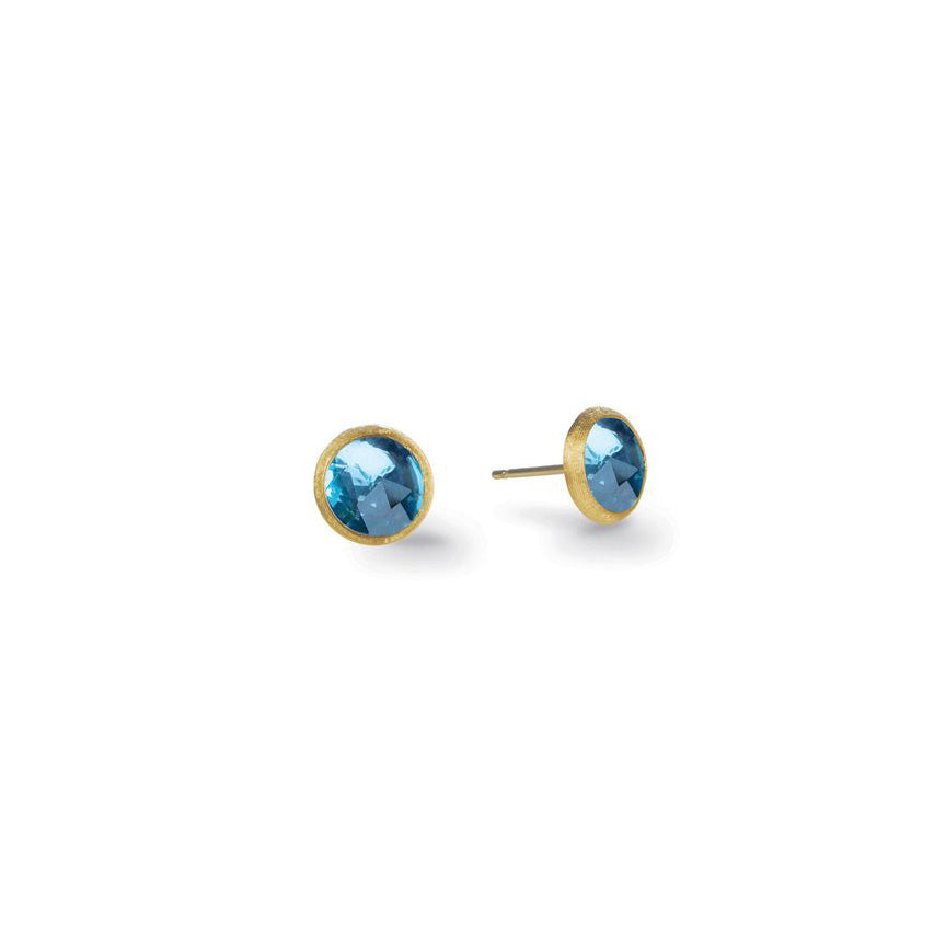Marco Bicego Jaipur Color Mini Button Earrings with Blue Topaz