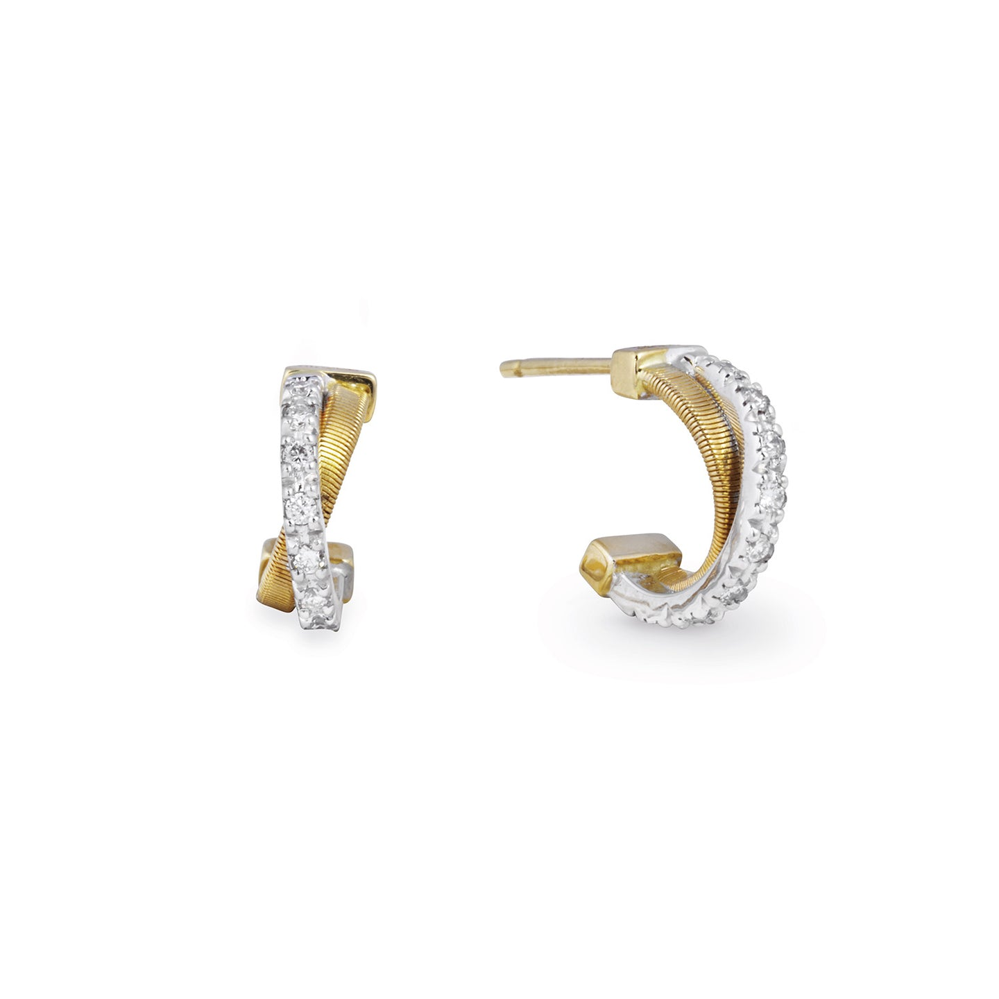 Marco Bicego Goa Yellow Gold and Diamond Crossover Earrings