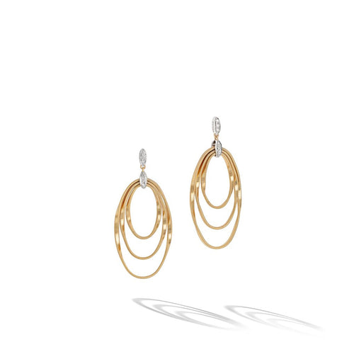 Marco Bicego Marrakech Onde 18K Yellow and White Gold Open Drop Earrings