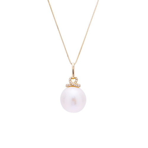 Sabel Pearl 14K Yellow Gold 12-13mm White Ming Pearl and Diamond Necklace
