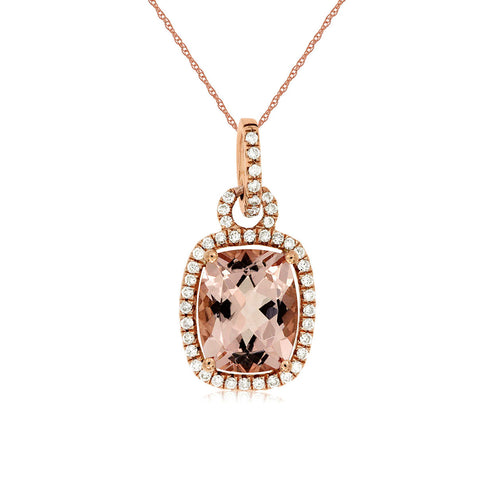 Sabel Collection 14K Rose Gold Cushion Cut Morganite and Round Diamond Pendant