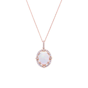 Sabel Collection 14K Rose Gold Oval Opal and Diamond Halo Pendant