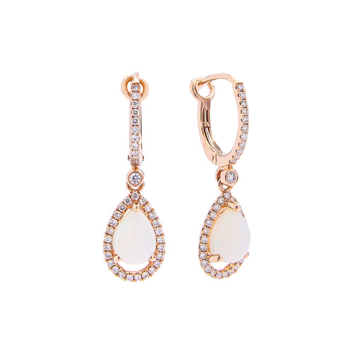 Sabel Collection 14K Rose Gold Pear Shape Opal and Diamond Halo Earrings