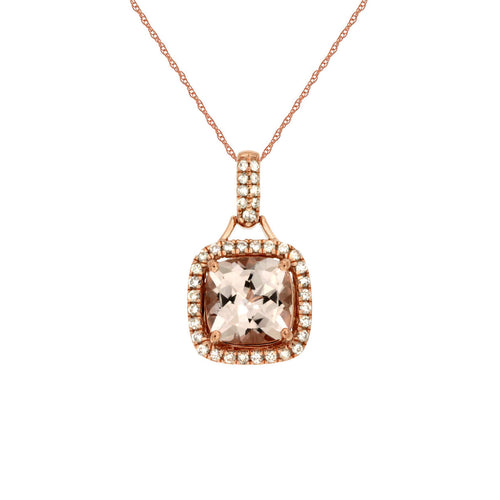 Sabel Collection 14K Pink Gold Cushion Cut Morganite and Diamond Pendant