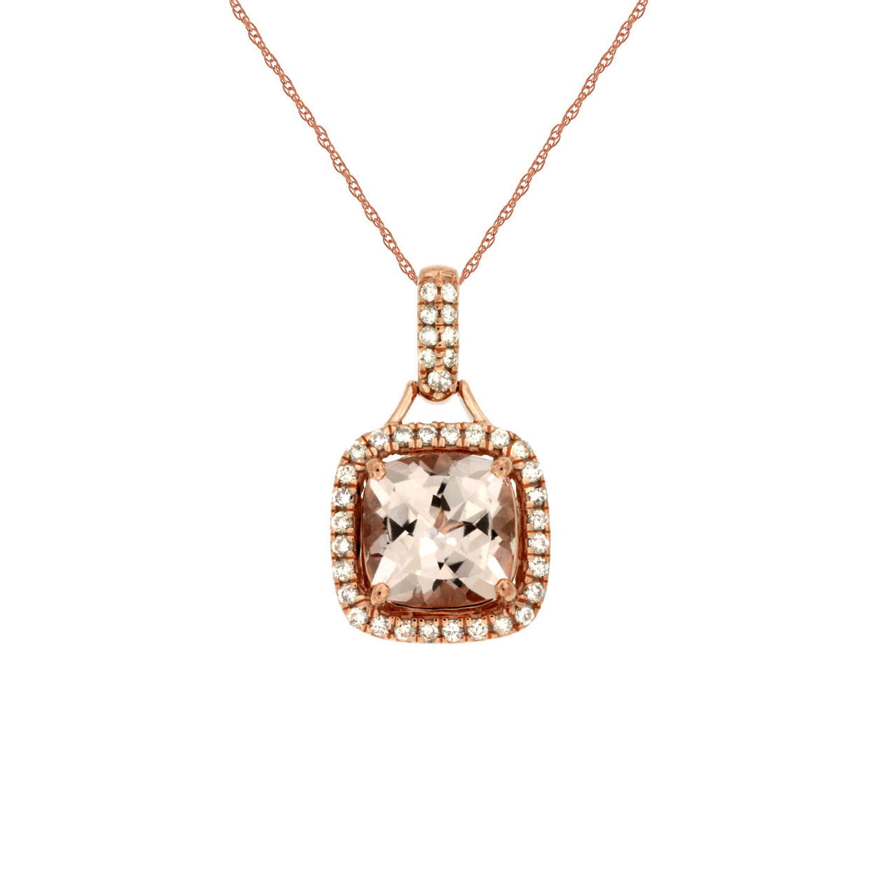 Sabel Collection 14K Rose Gold Cushion Cut Morganite and Diamond Pendant