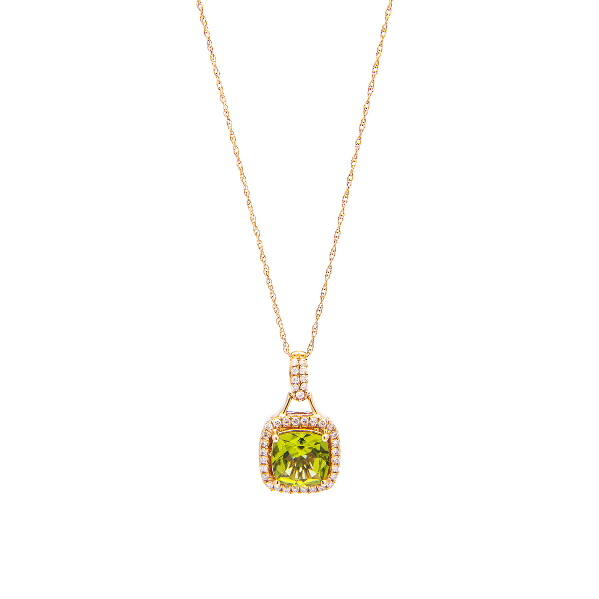 Sabel Collection 14K Rose Gold Cushion Cut Peridot and Diamond Pendant
