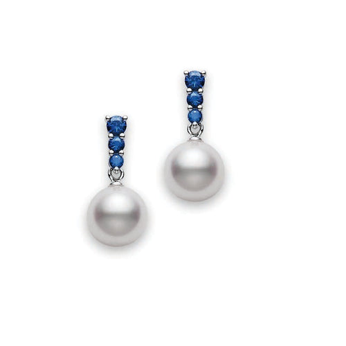 Mikimoto Morning Dew 8mm Akoya Pearl and Blue Sapphire Earrings