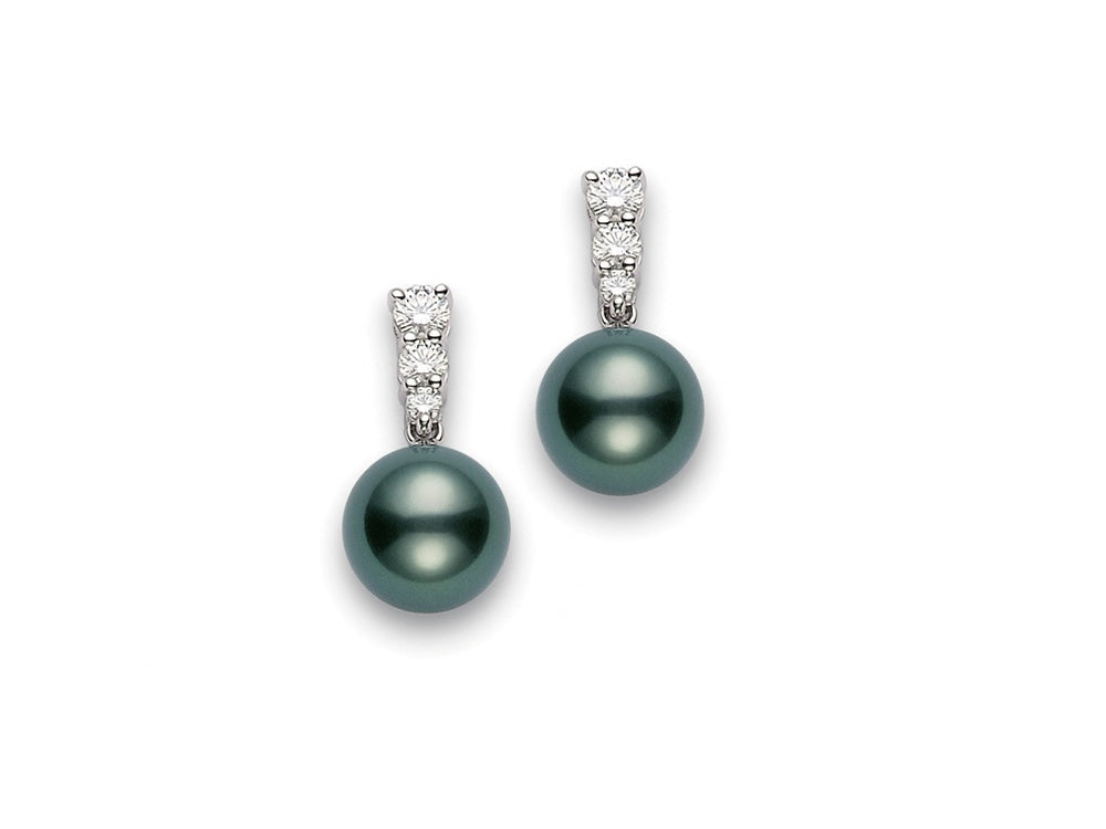 Mikimoto Morning Dew 9mm Black South Sea Pearl and Diamond Earrings