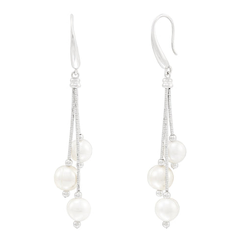 Sabel Pearl 8-9mm White Ringed Freshwater Cultured Pearl Graduated Drop Earrings